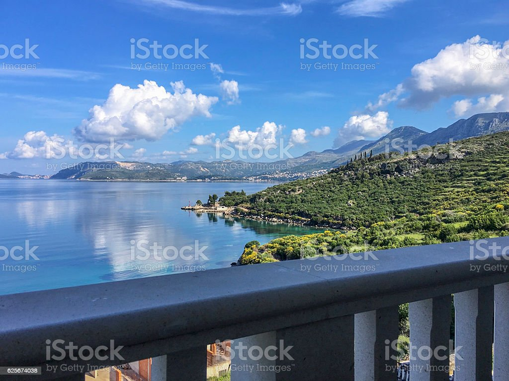 Adriatic seaside near Cavtat Croatia from a sea view terrace stock photo