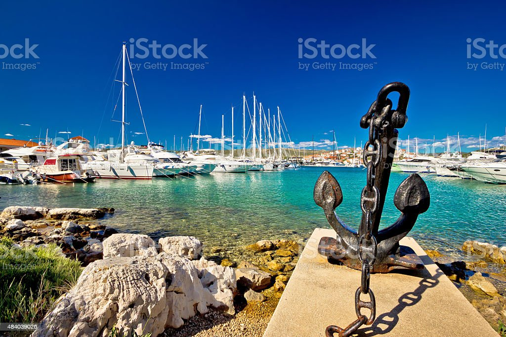 Adriatic town of Rogoznica sailing harbor stock photo