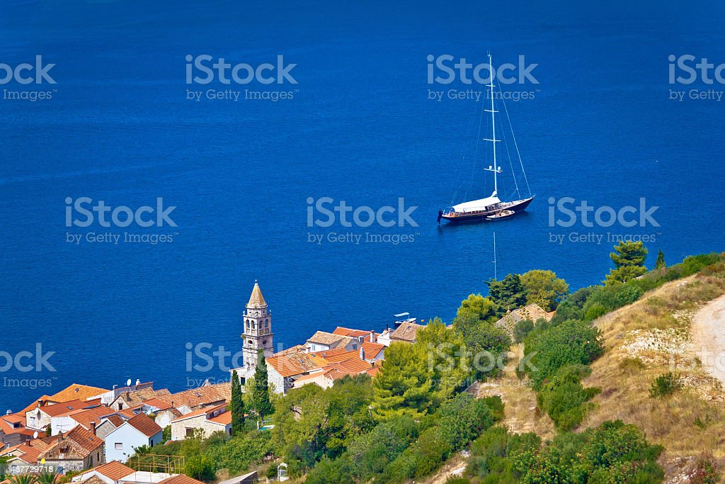 Adriatic town of Vis sailing destination waterfront stock photo