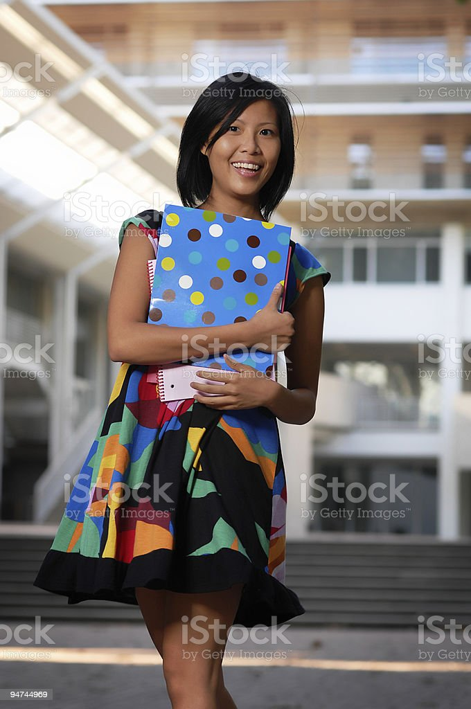 Adult Asian Female University Student Studying On Campus royalty-free stock photo