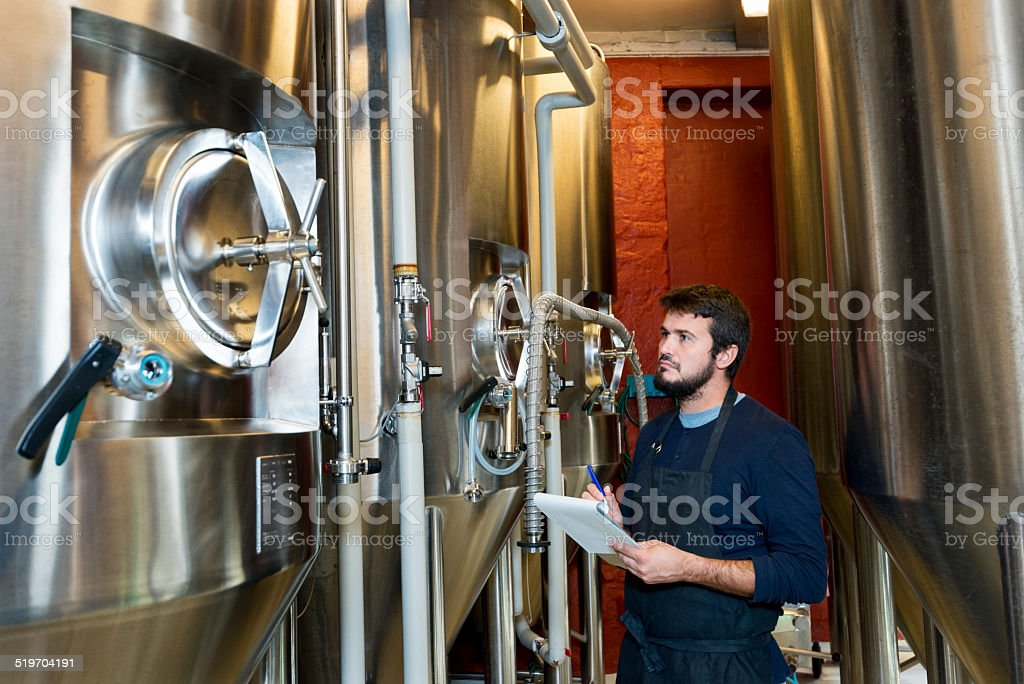 adult brewmaster checking his brew stock photo