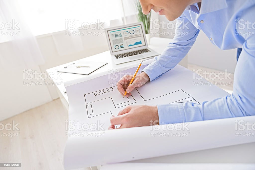 Adult businessman working in office stock photo