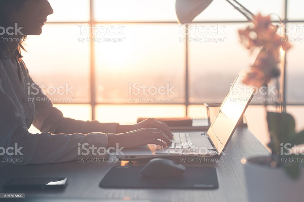 Adult businesswoman working at home using computer, studying business ideas stock photo