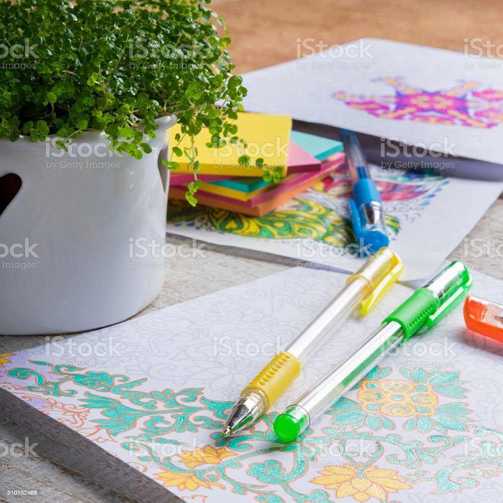 Adult Coloring Books New Stress Relieving Trend Mindfulness Concept Royalty Free Stock Photo
