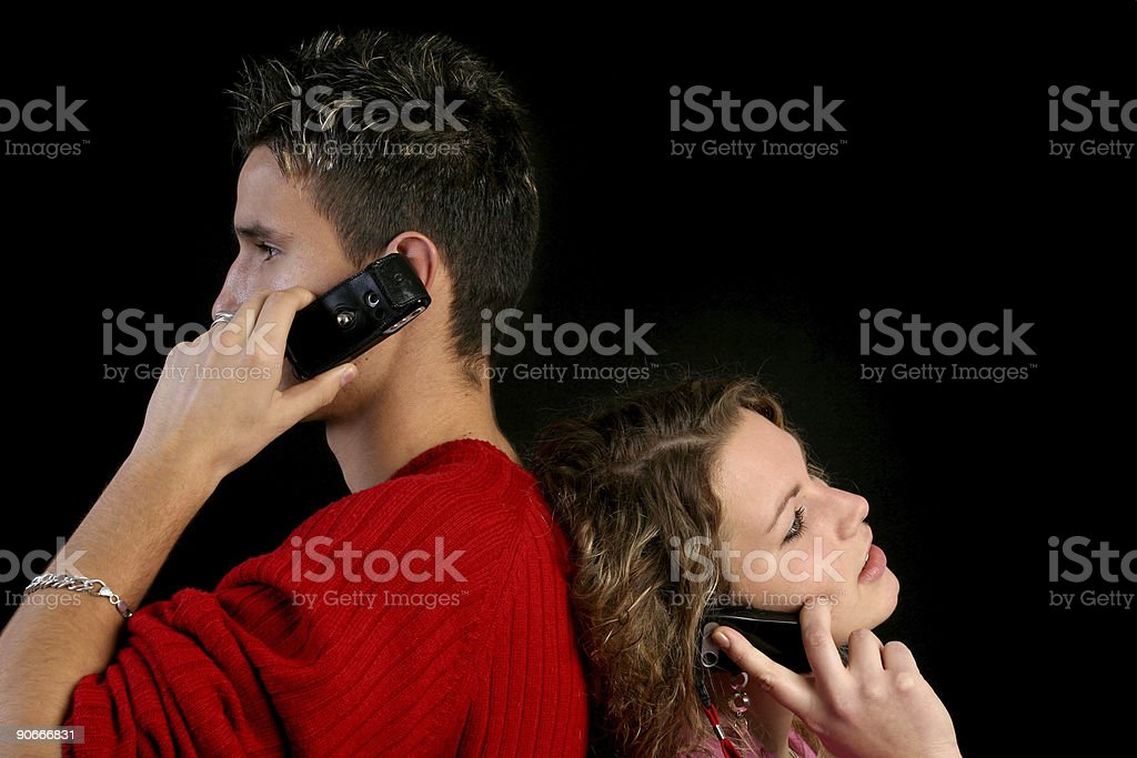 Adult couple on the mobile phone stock photo