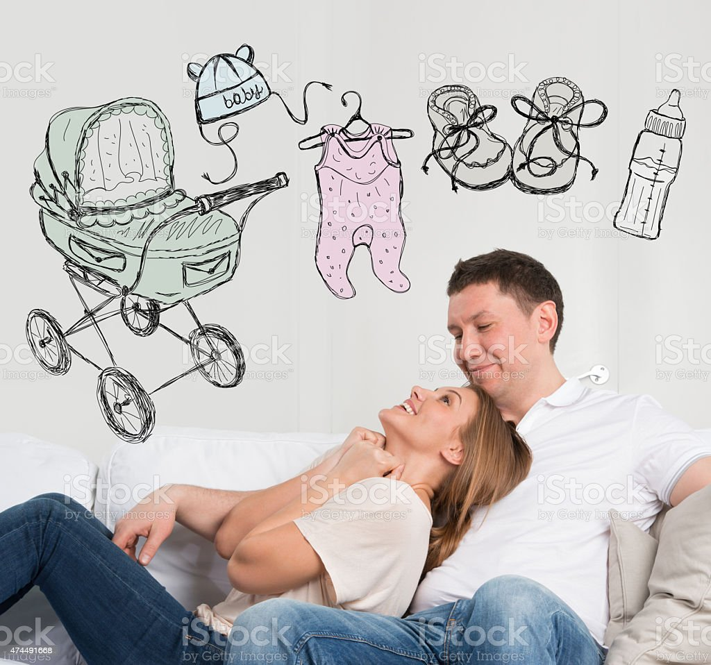 Adult couple planning baby stock photo