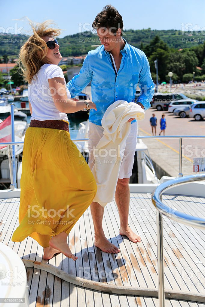 Adult couple relaxed with each other stock photo