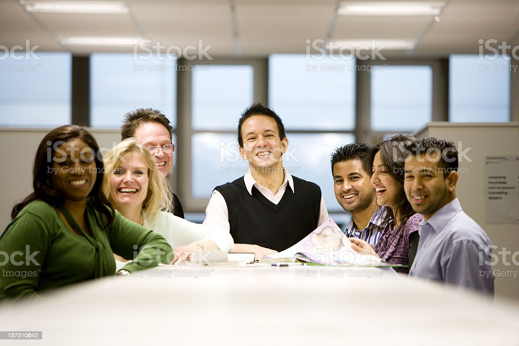 adult education: a friendly group of diverse mature students royalty-free stock photo