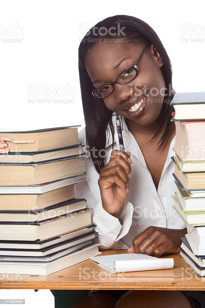 Adult education Afro American woman book studying royalty-free stock photo