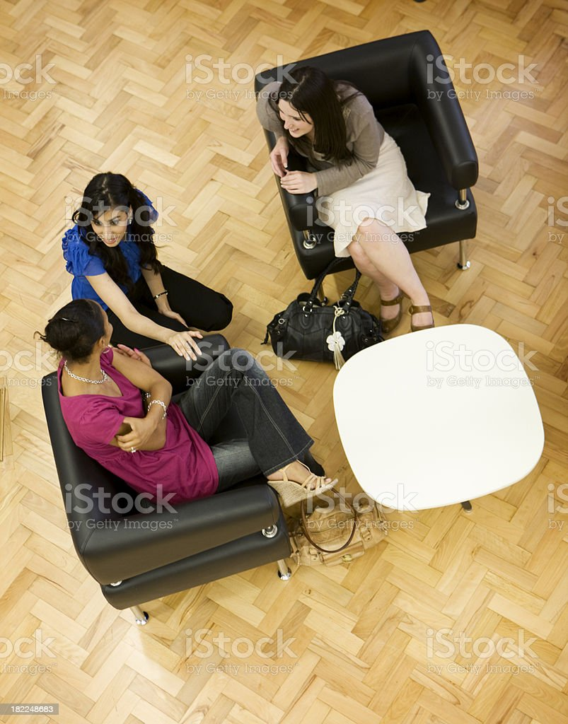 adult education business studies: discussing class royalty-free stock photo