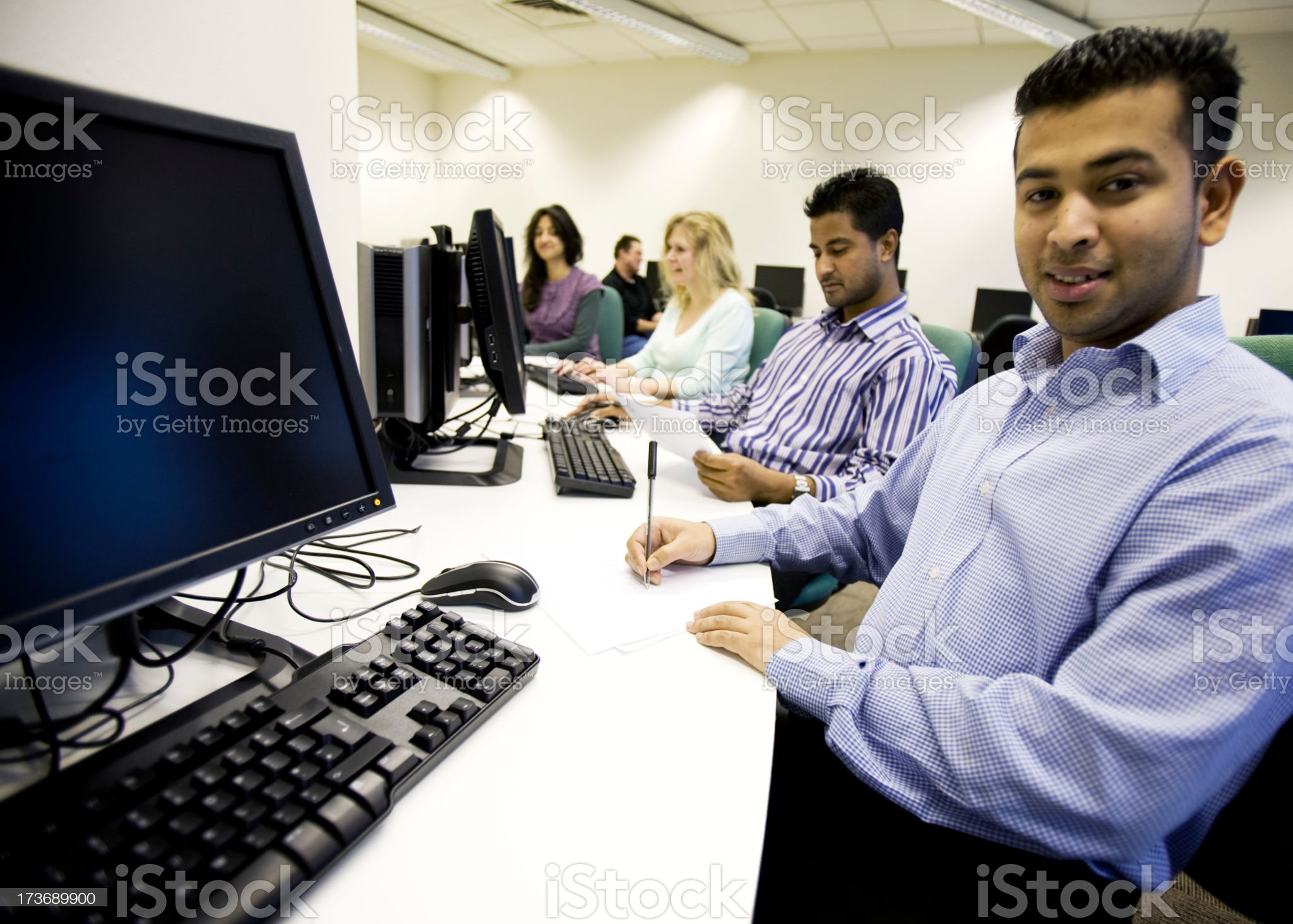 adult education: computer workers royalty-free stock photo