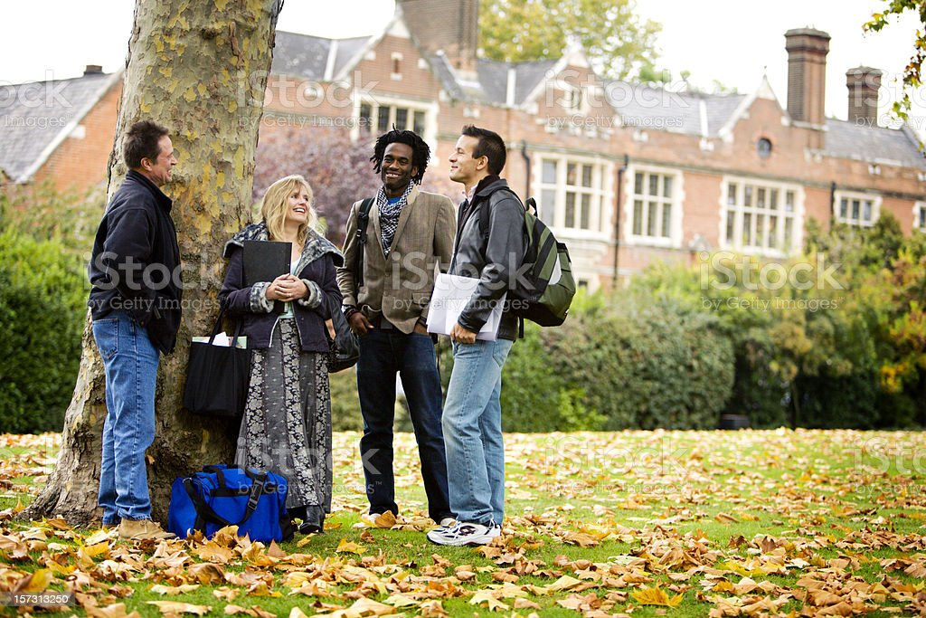 adult education: diverse mature students discussing their studies together stock photo