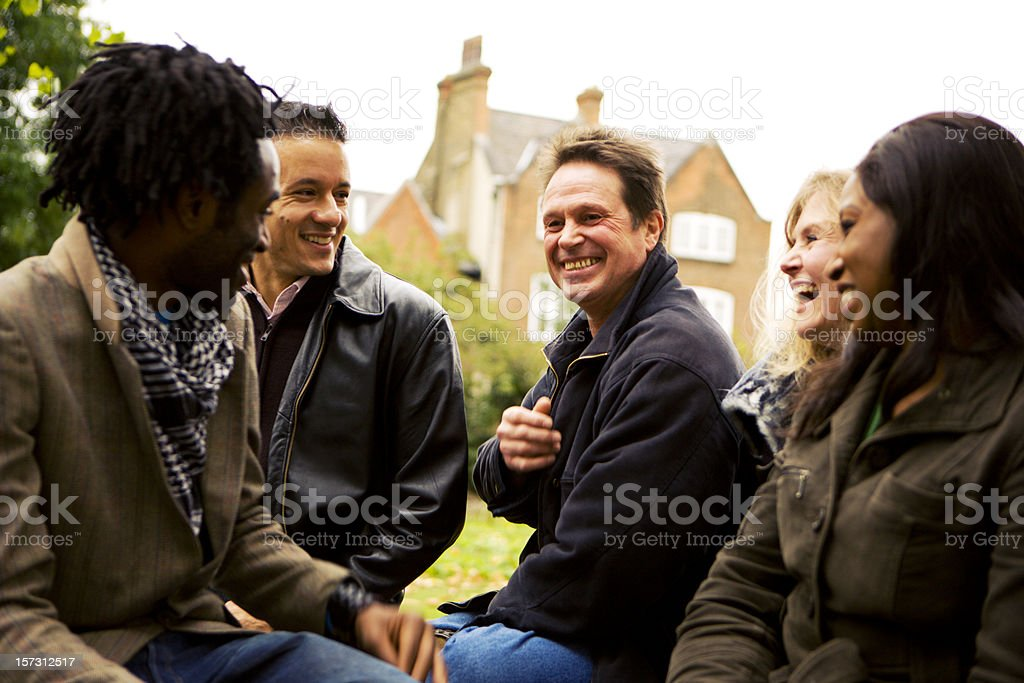 adult education: mature diverse students enjoying some fun together royalty-free stock photo
