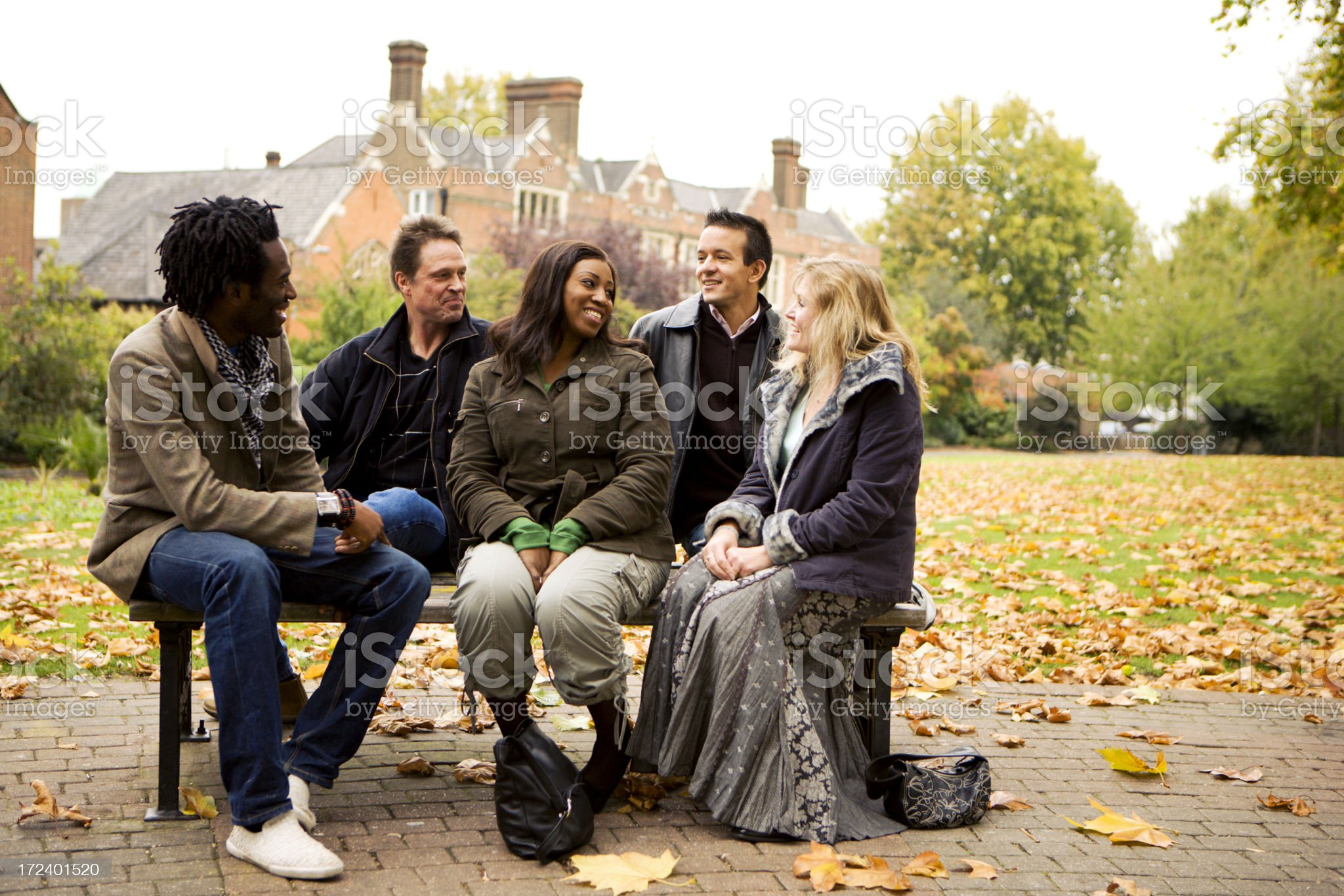 adult education: mature student friends royalty-free stock photo