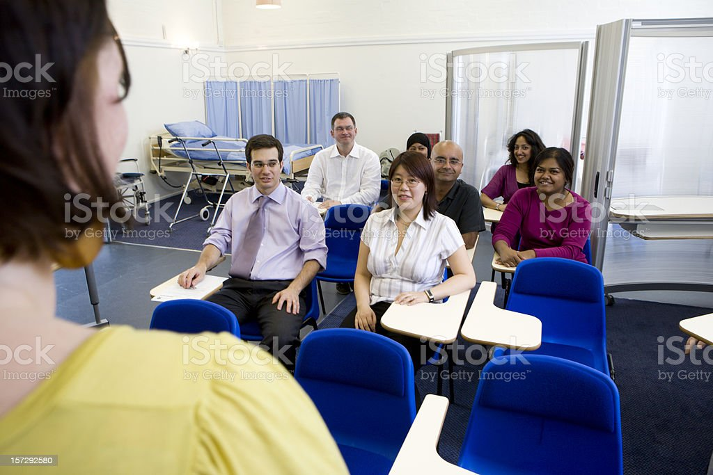 adult education: medical school class from the teachers perspective royalty-free stock photo