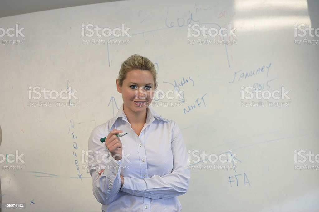 adult female writing on a white board stock photo