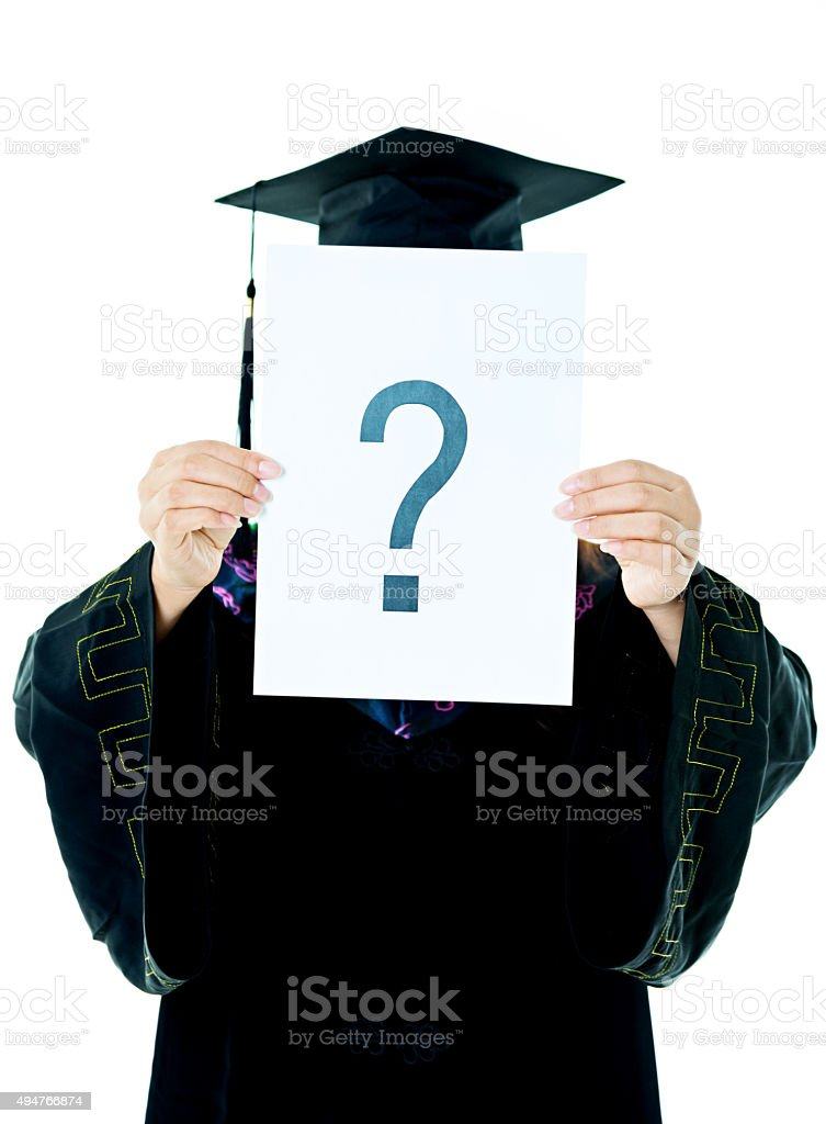 Adult graduate with question mark stock photo