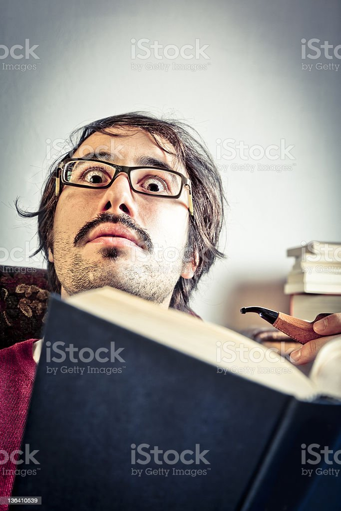 Adult Intelectual Teacher at Home. Old Fashion stock photo