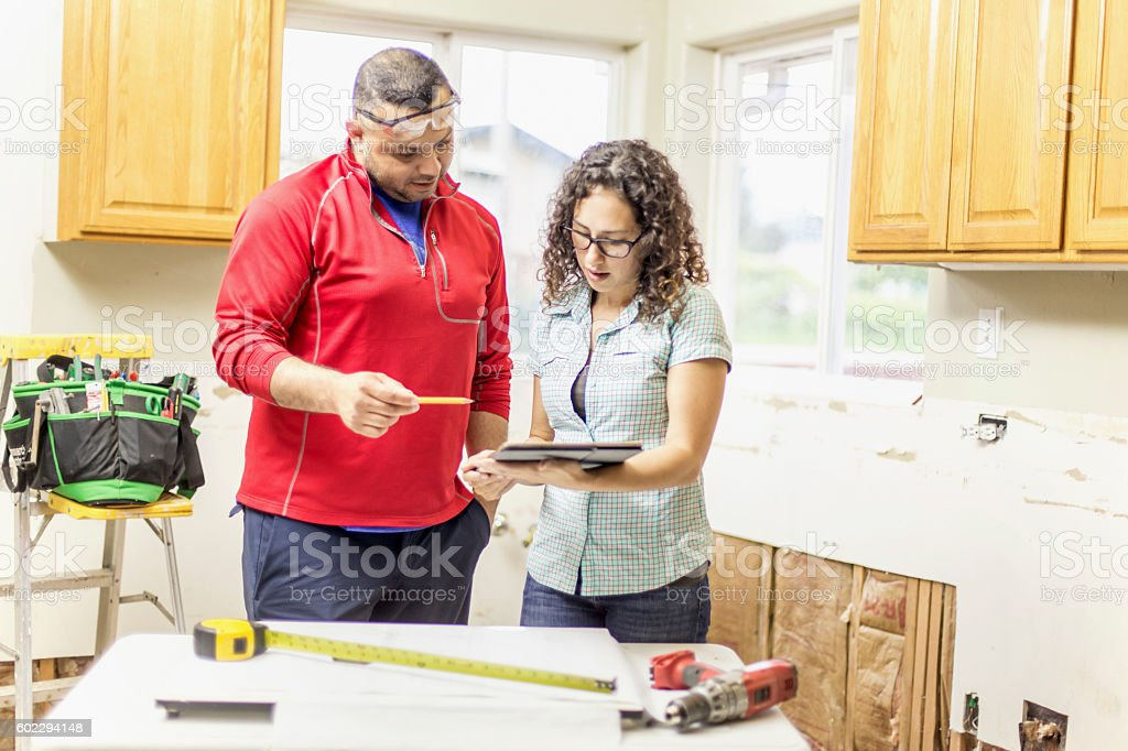 Adult male and female contractors working stock photo