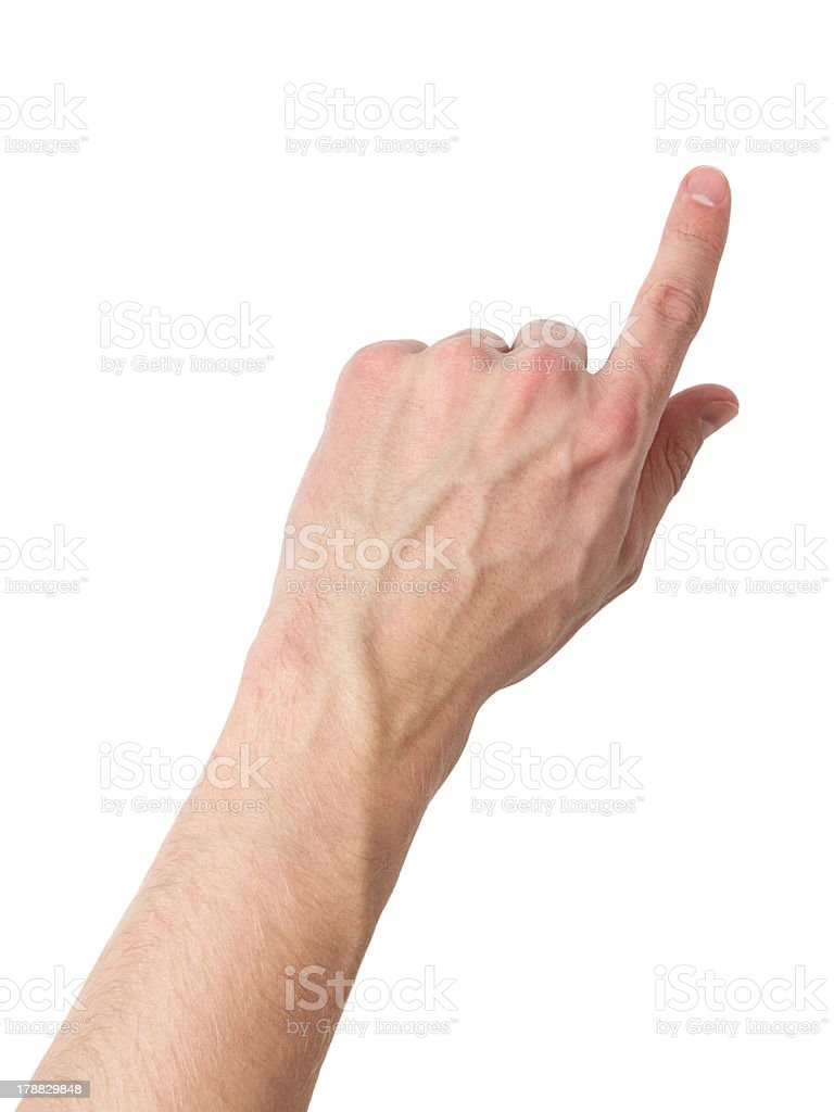 adult male hand touching virtual screen stock photo