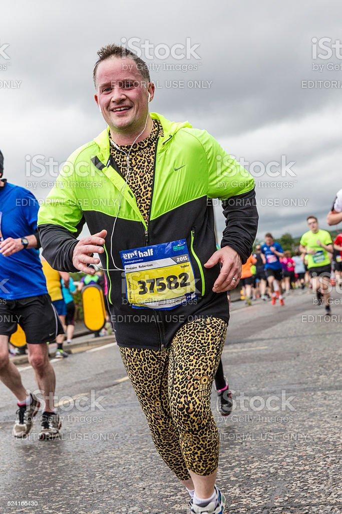 Adult male in Edinburgh Half Marathon 2015 stock photo