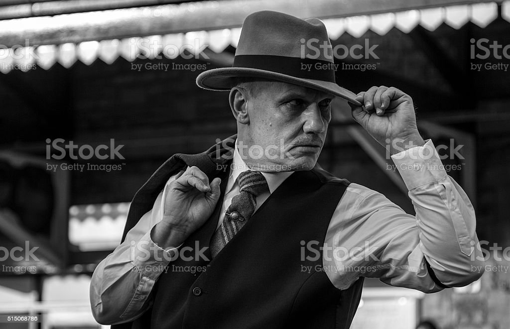 Adult male posing in costume stock photo