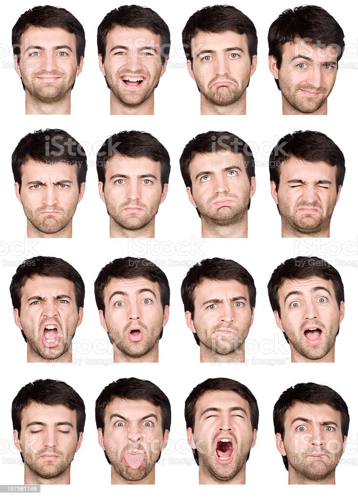 adult male short air and beard montage of 16 expressions stock photo