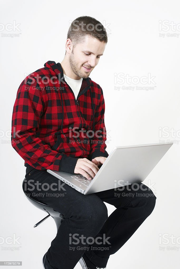 Adult male using computer royalty-free stock photo
