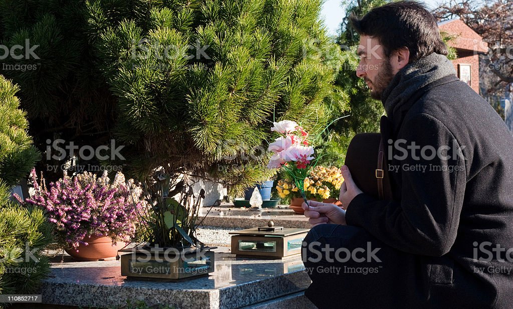 Adult Man at Cemetery stock photo