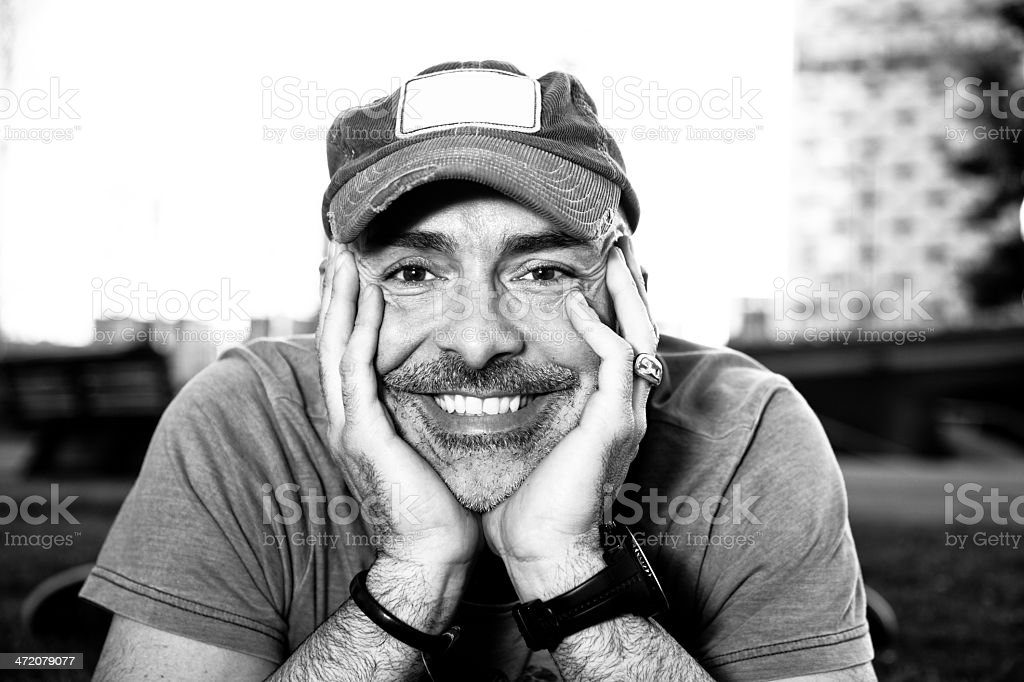 Adult man black and white portrait royalty-free stock photo