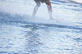 Adult man exercising on water sport