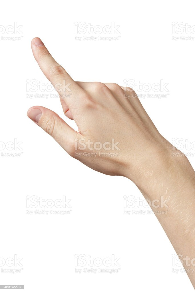 adult man hand clicking or pressing something stock photo