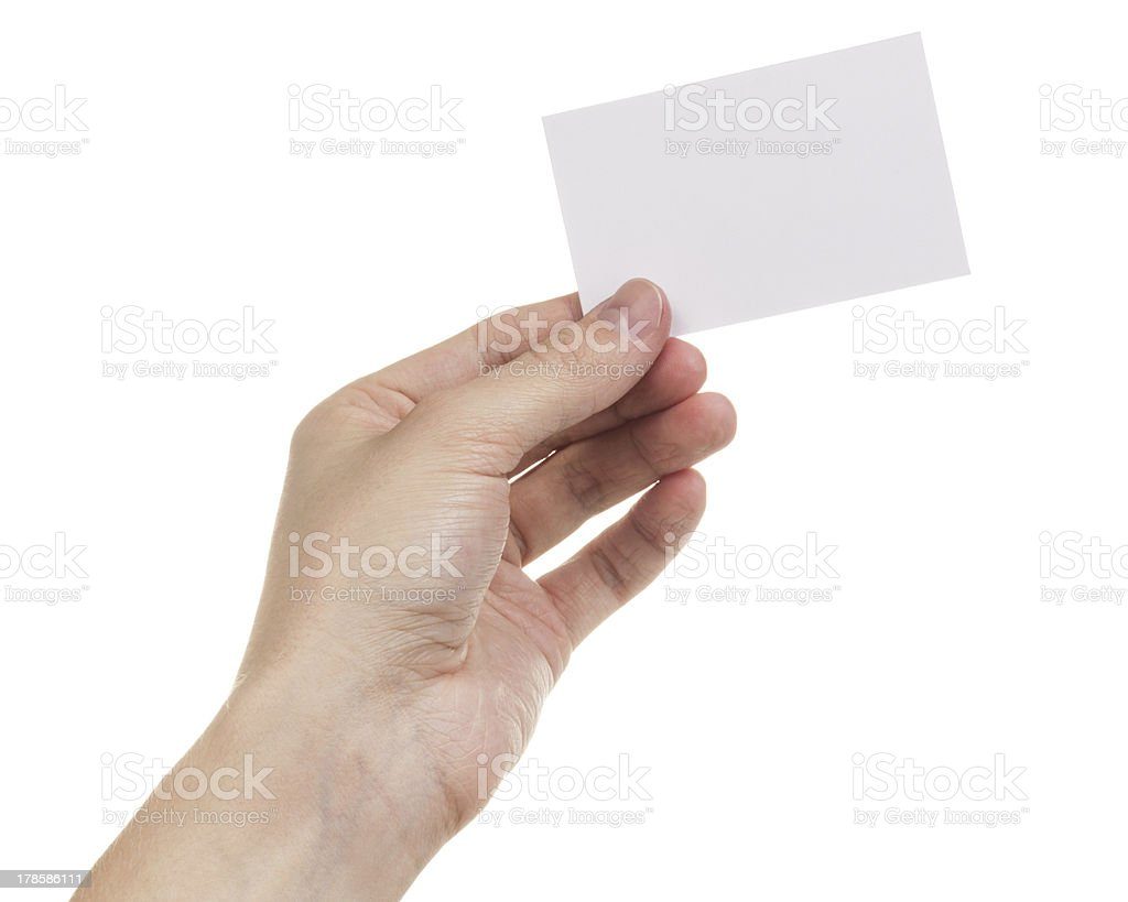adult man hand holding blank card stock photo