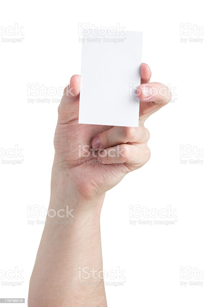 adult man hand holding blank visiting card royalty-free stock photo