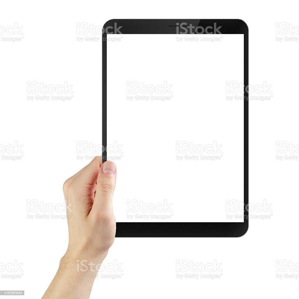 adult man hand holding generic tablet pc with white screen stock photo