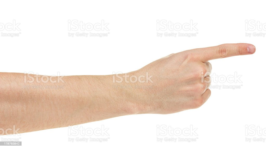 adult man hand pointing royalty-free stock photo