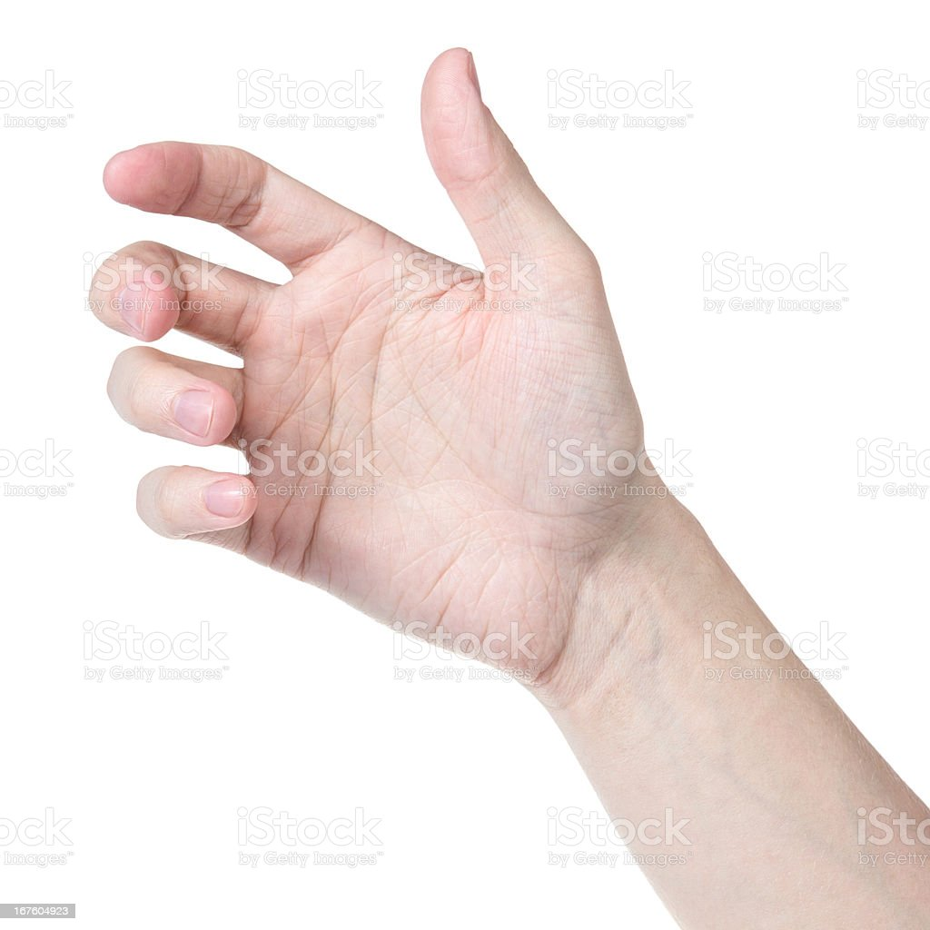 adult man hand to hold something like phone stock photo