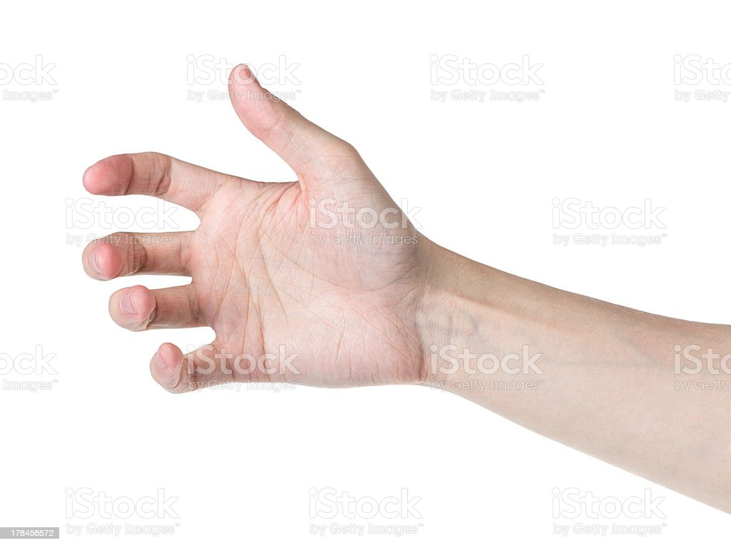 adult man hand to hold something like phone stock photo