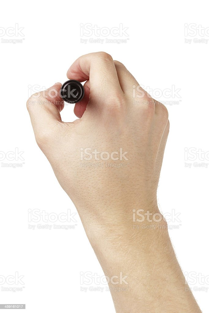 adult man hand to write something on white board stock photo