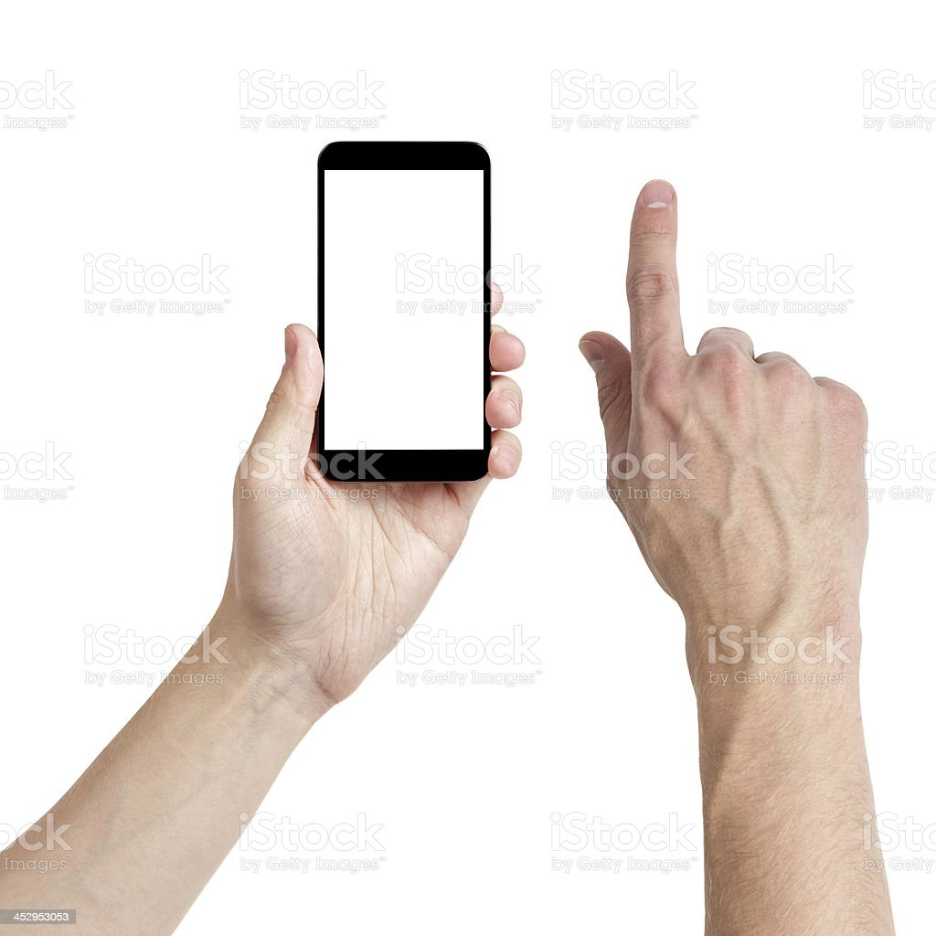 adult man hands using mobile phone with white screen stock photo