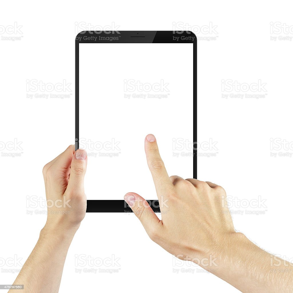 adult man hands using tablet pc with white screen, isolated stock photo