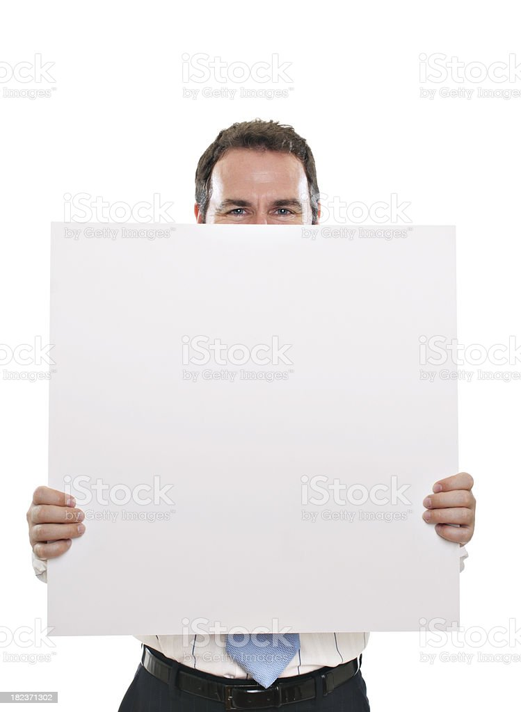 Adult man holding white board stock photo