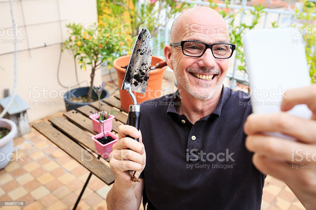 Adult man planting tomatoes on his balcony stock photo