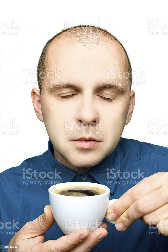 Adult man relaxing with a cup of coffee royalty-free stock photo