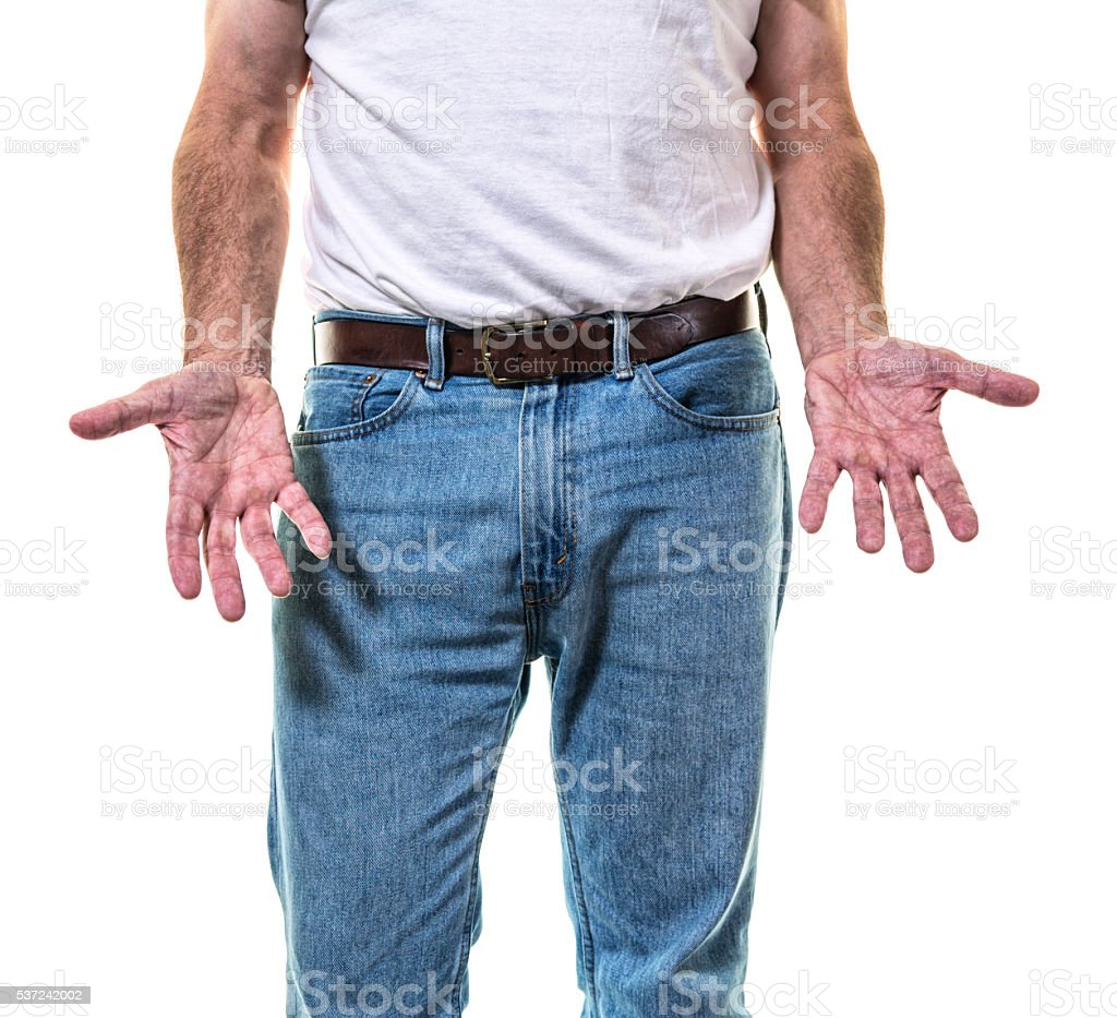 Adult Man Showing Open Hand Palms stock photo