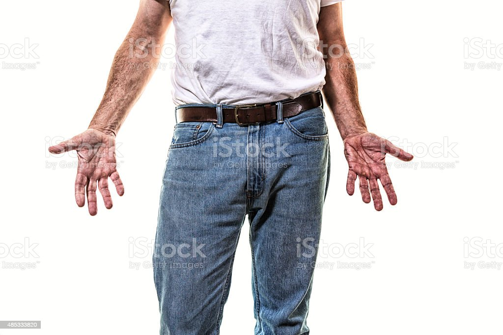 Adult Man Showing Open Hand Palms to Camera stock photo