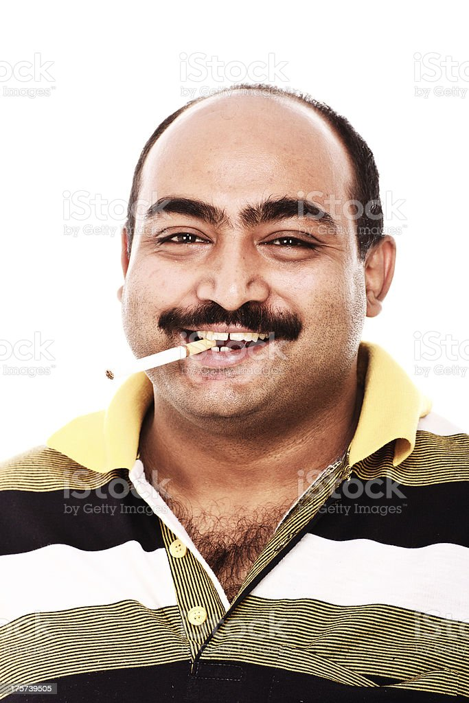 Adult man smoking royalty-free stock photo