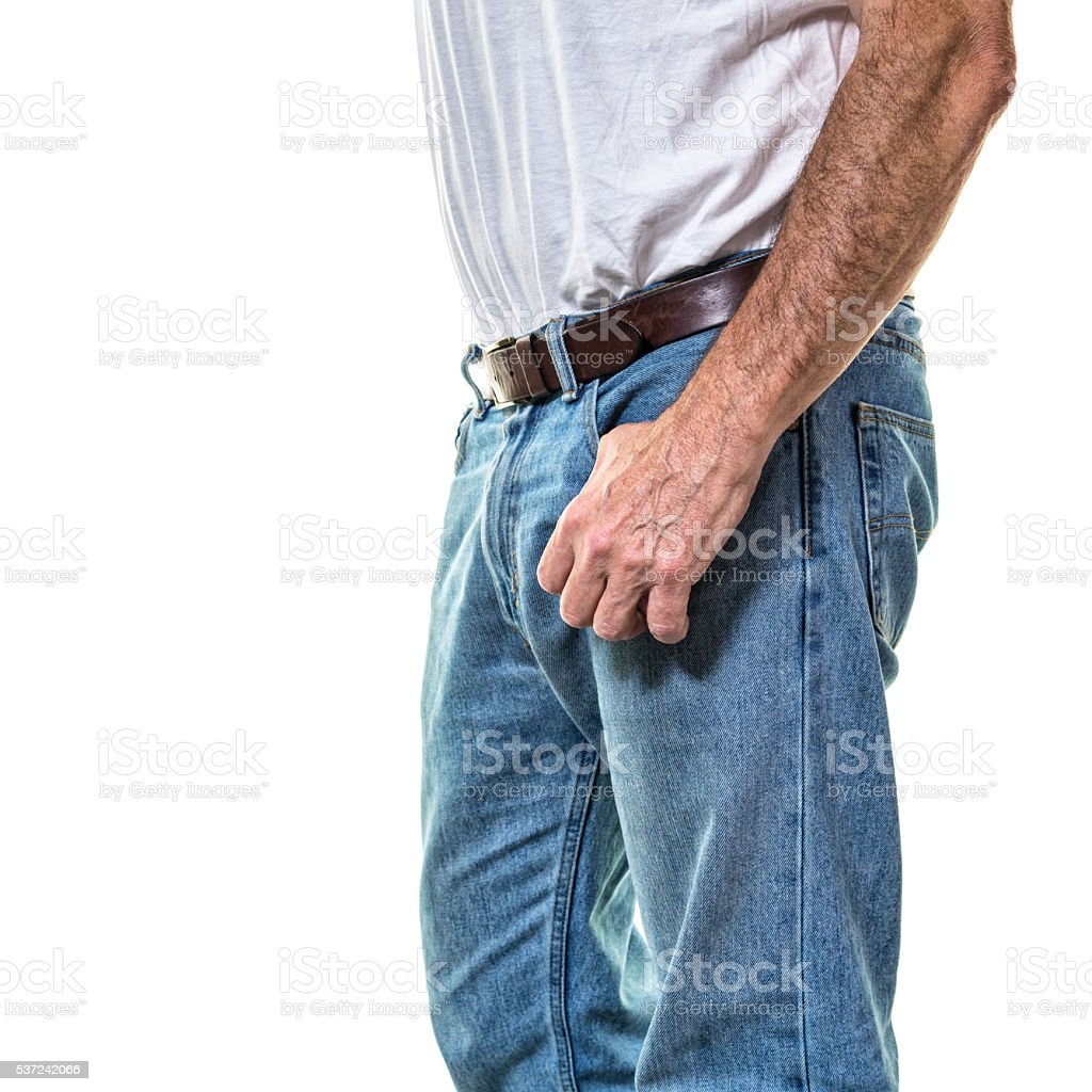 Adult Man Thumb Hooked into Blue Jeans Pocket stock photo