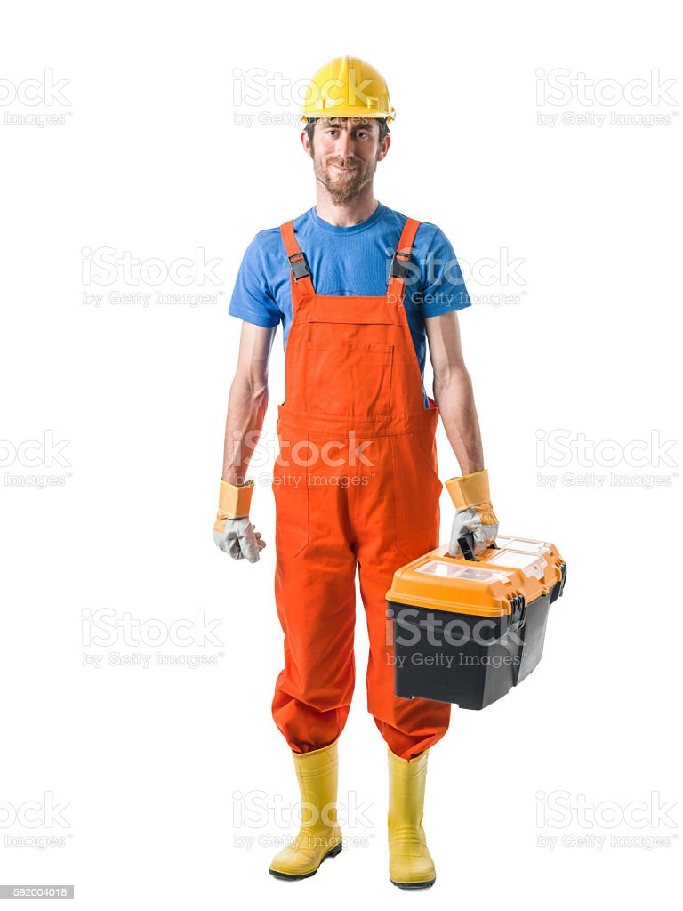 Adult man Wearing Boiler Suit Holding Tool Box stock photo