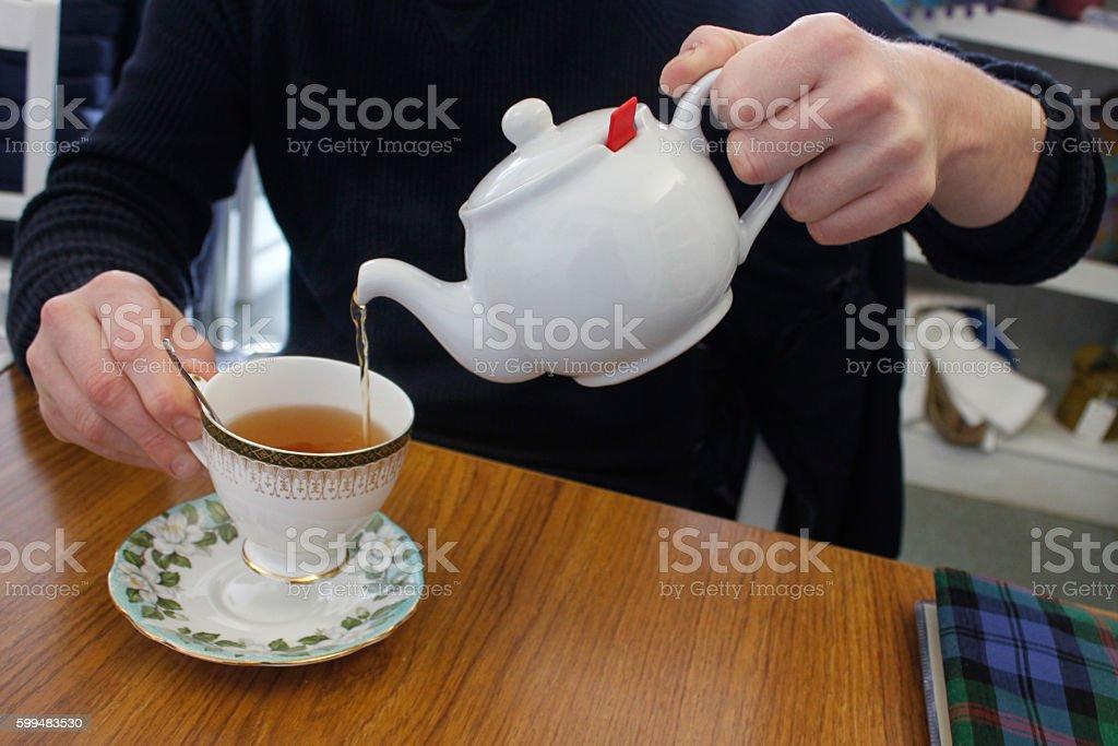 Adult men drinking tea stock photo